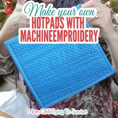 blue hotpad that is quilted and bound