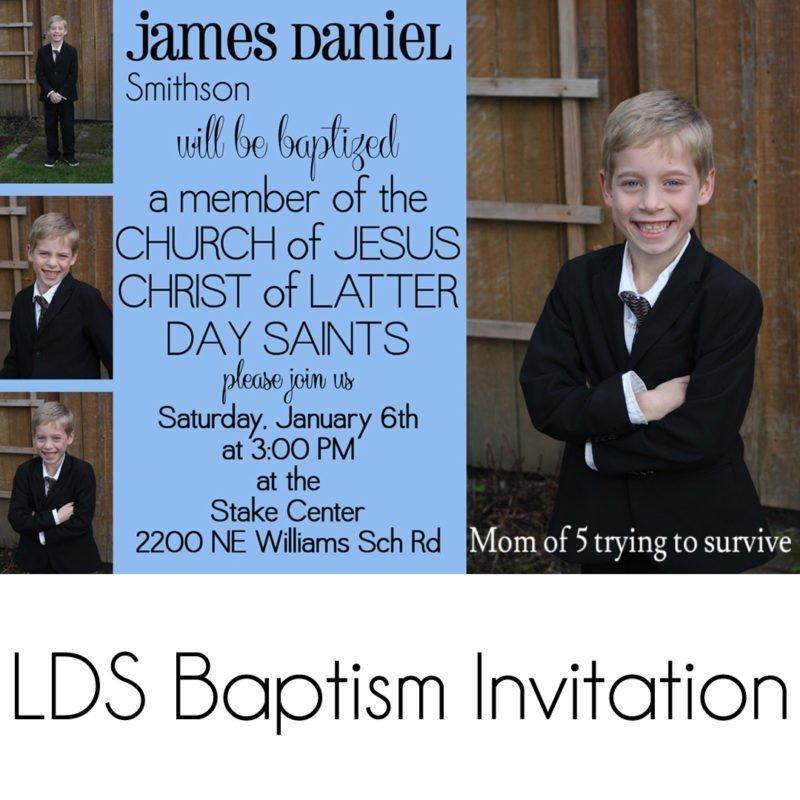 LDS baptism invitation boy