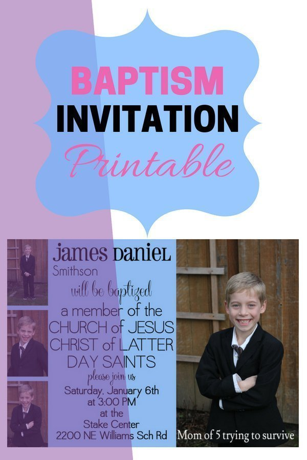 Lds Baptism Invitations Mom Of 5 Trying To Survive