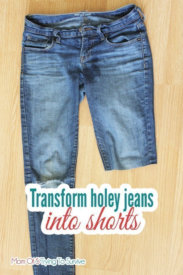 Turn your holey jeans into shorts by following this tutorial