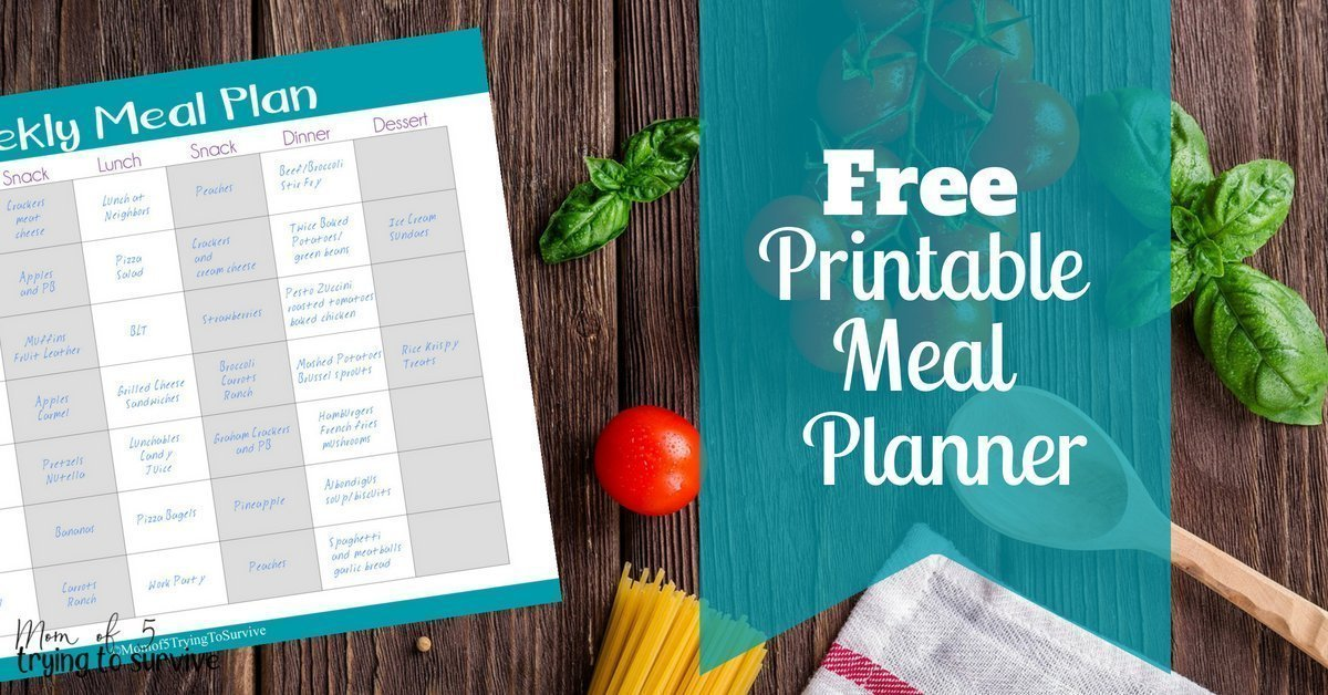 Weekly Meal Plan [Free Printable]