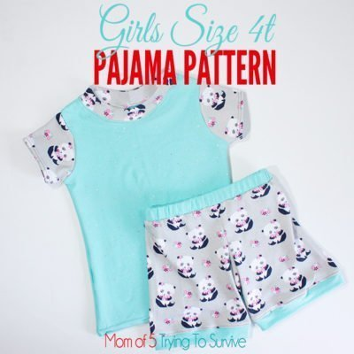 Girls size 4t pajama pattern with detailed instructions and images