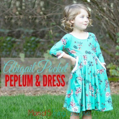 This adorable girls dress was made using the Abigail pocket peplum and dress pattern from Simple Life Pattern Company