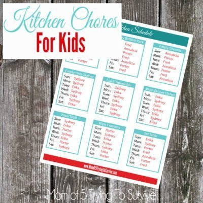 List of kitchen chores for kids