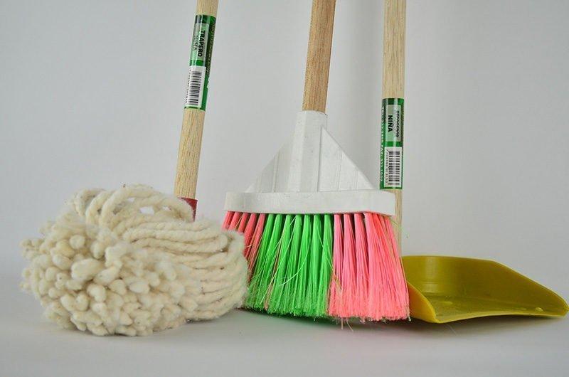 broom, mop, dust pan
