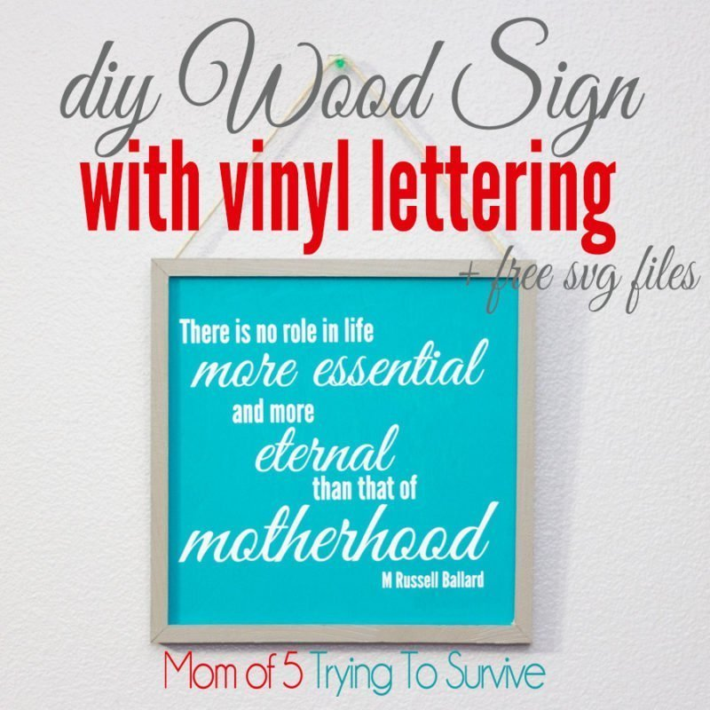 """finished wood sign with vinyl lettering that says """"there is no role in life more essential and more eternal than that of motherhood."""