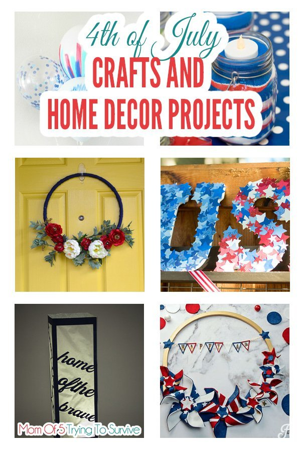 List of 4th of July Crafts and home decor projects