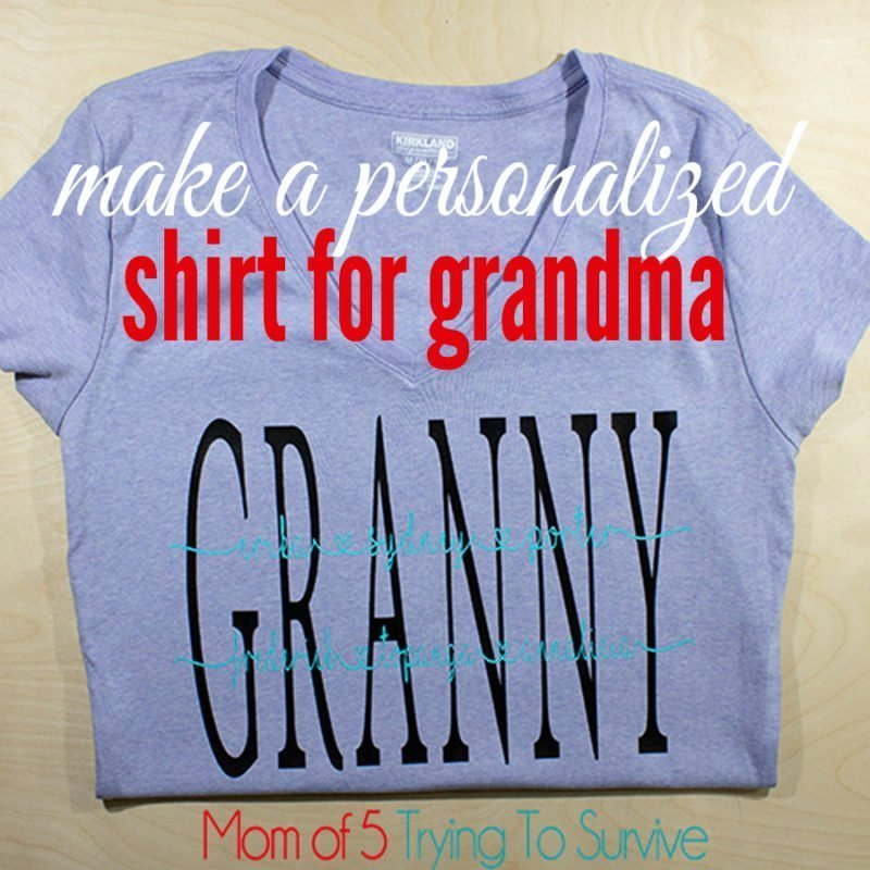 finished product of grandma shirt with grandkids names