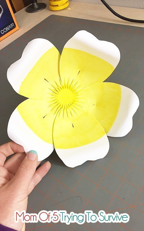 large 3d paper flower made with cricut maker