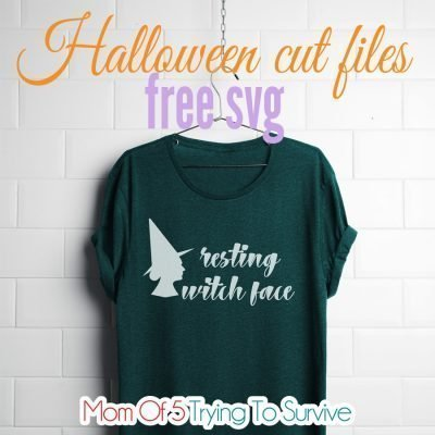 resting witch face svg file used to cut heat transfer vinyl and iron onto shirt