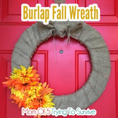 finished burlap fall wreath with orange and yellow flowers